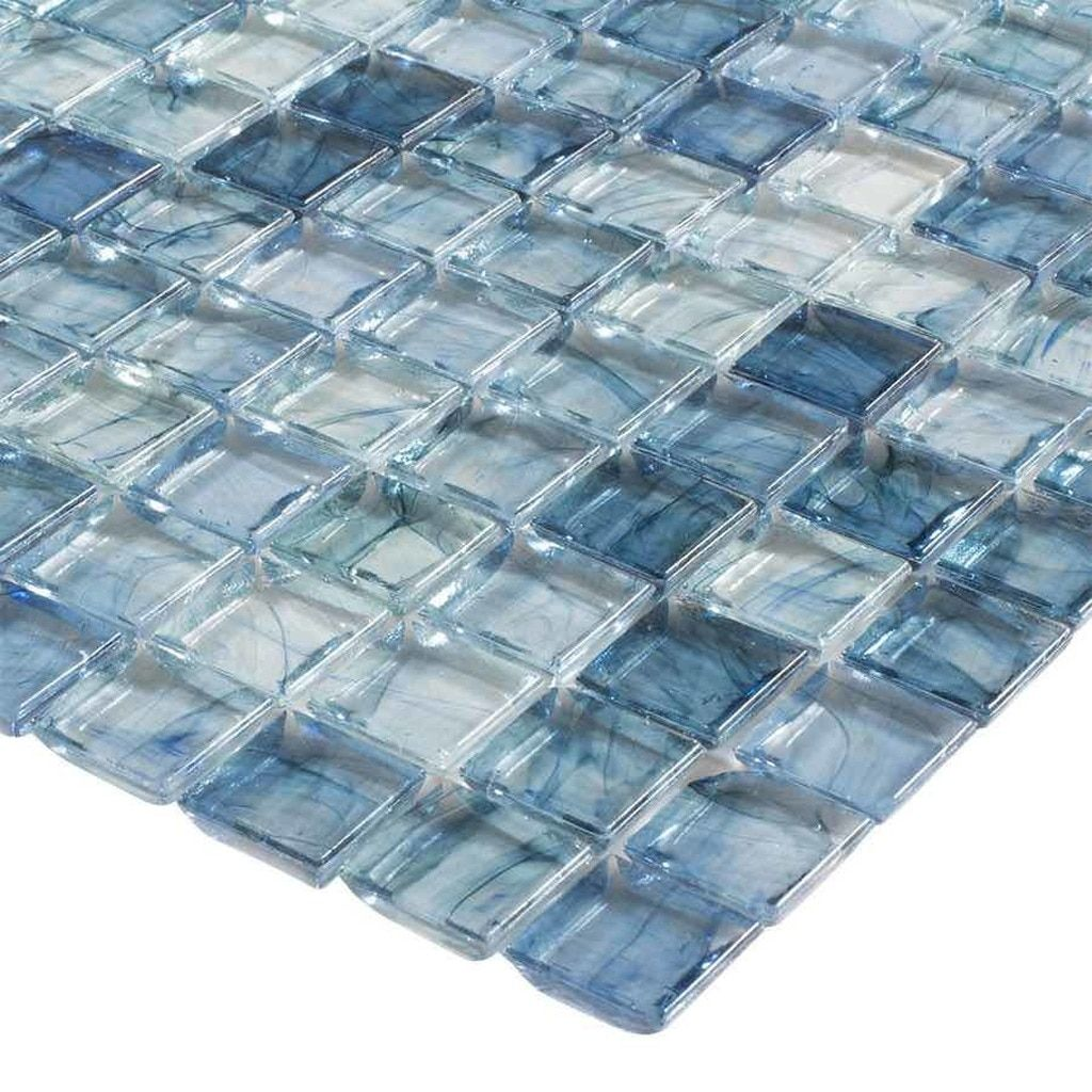 Clear Glass Mosaic Tile Stained Sky Blue 12x12 Mineral Tiles In 2020 Mosaic Wall Tiles Mosaic Glass Glass Mosaic Tiles