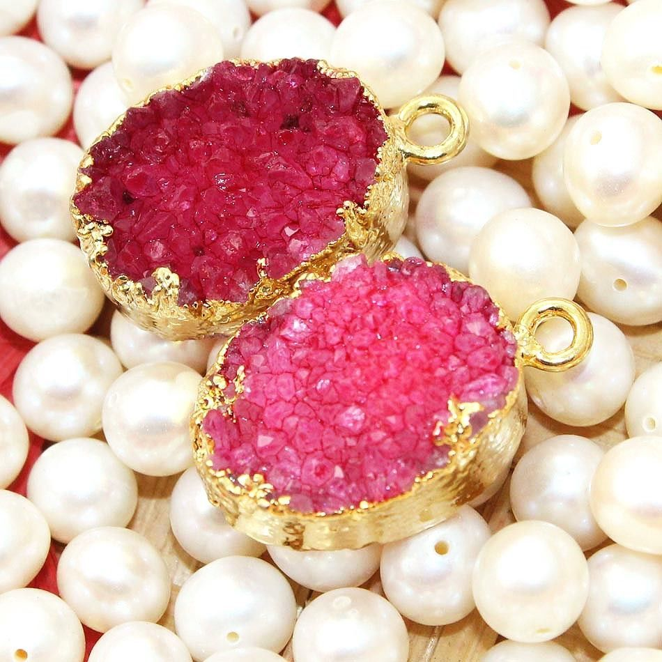 Zj7284 Sale Red Sugar Druzy Gold Plated Handmade Fashion Connector Jewelry  2Pcs #Handmade #Connector