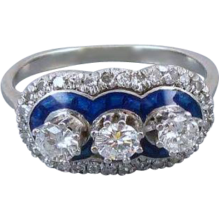 Vintage Art Deco 1920s 18k white gold .70 carat diamond