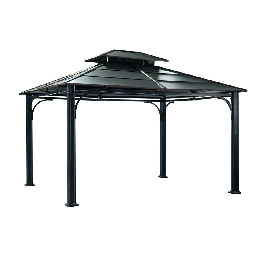 Sunjoy Black Steel Rectangle Permanent Gazebo Exterior 10 Ft X 12 Ft Foundation 10 Ft X 12 Ft At Lowes Com Steel Gazebo Permanent Gazebo Hardtop Gazebo