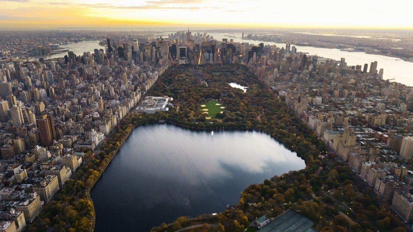 1366x768 Wallpaper Central Park Panorama Night New York Lake Skyscrapers