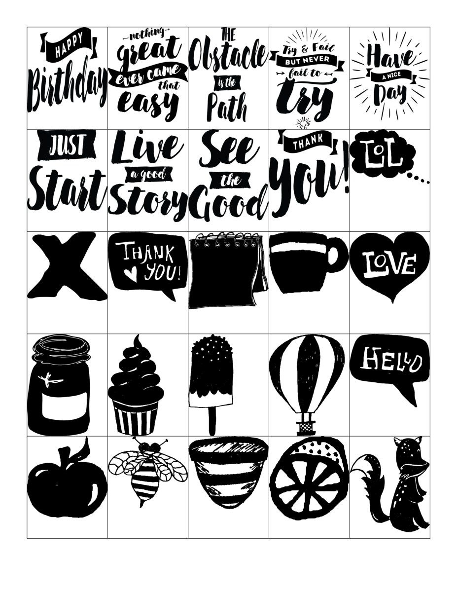 Free printable black white stickers for your planner