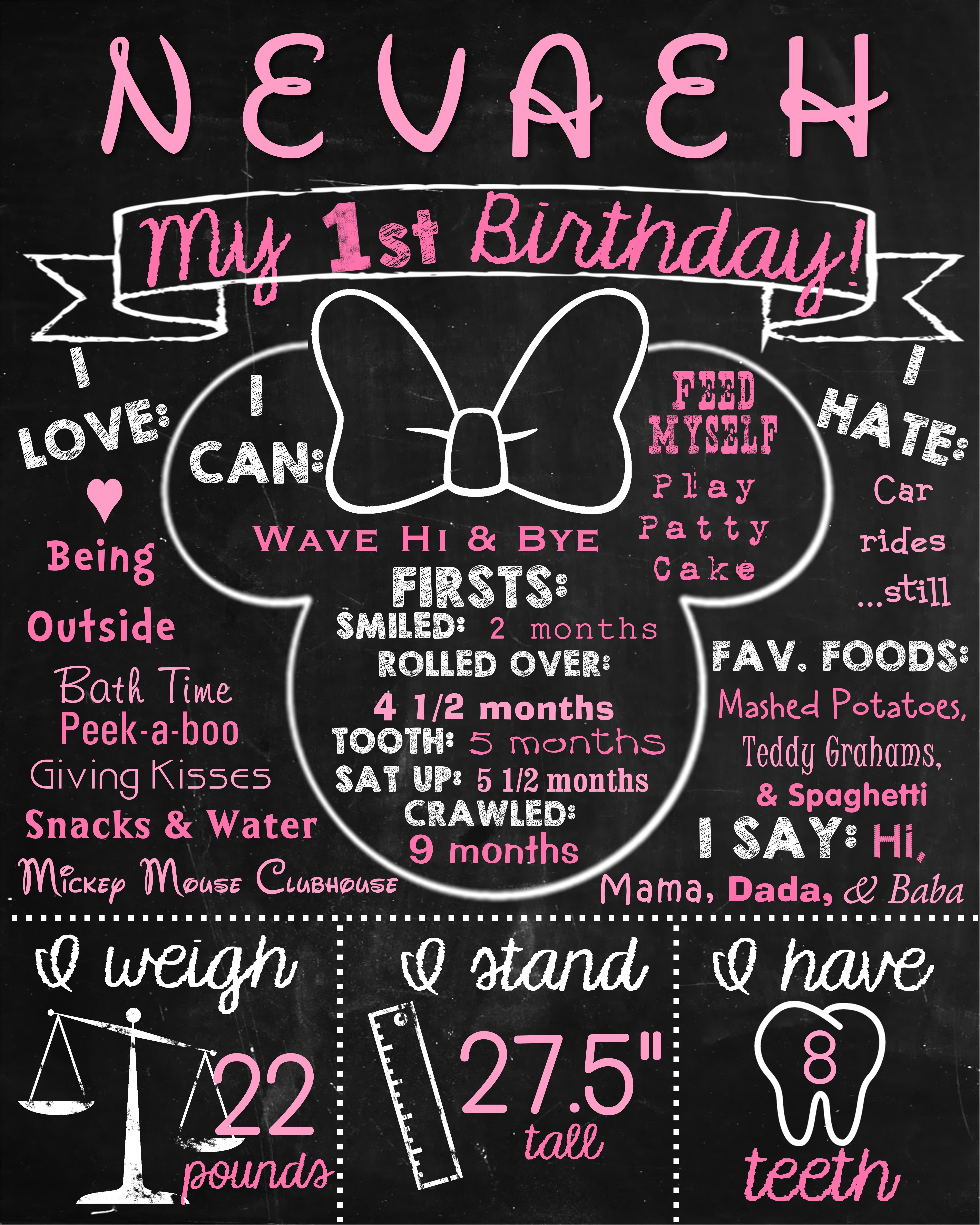 Design a 16x20 poster - 16x20 Minnie Mouse First Birthday Chalkboard Poster Contact Me Via Email At Aswiney01 Yahoo