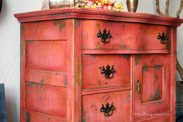 The Turquoise Iris ~ Vintage Modern Hand Painted Furniture Rustic Boho  Farmhouse