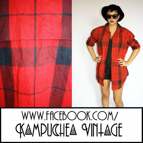 Vintage Red Balck Check Ralph Lauren Jacket Coat szL - 90s Grunge Indie FREE P
