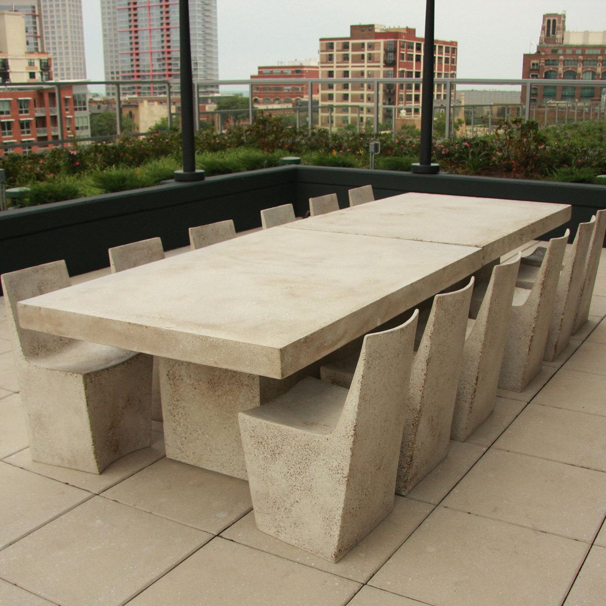 Stone Slab Dining Table Concrete Light