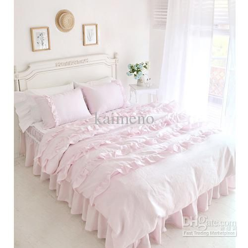 Textile Beautiful Pink Lace Ruffled Comforter Sets Duvet Cover