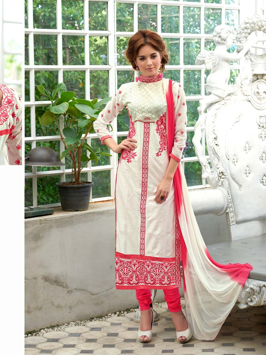 Off White Cotton Pakistani Style Suit 60031 | Things to Wear | Pinterest