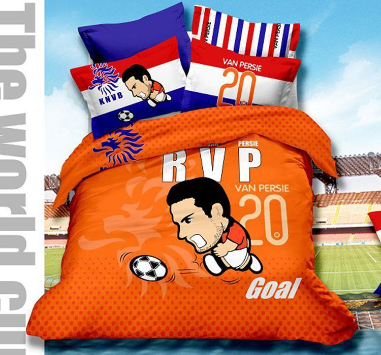 World Cup Netherlands Soccer Team Cartoon Queen Size Bedding Set For The Fans 100 Cotton Orange Duvet Duvet Cover Sets Queen Size Bed Sets Orange Duvet Covers