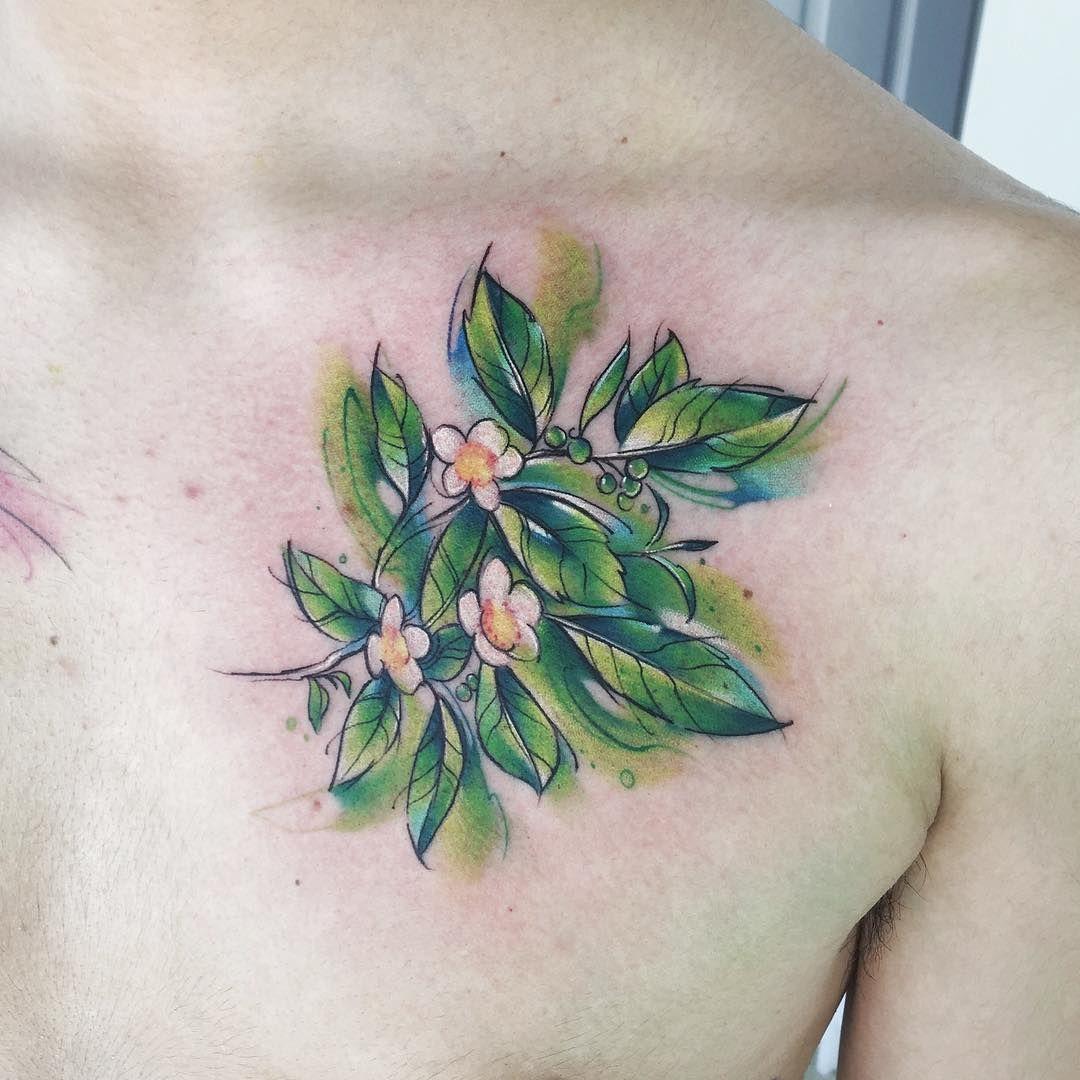 Tea Ab Tattoo Tatuaje Tea Te Colors Watercolor Aquarelle Green Verde Hojas Watercolor Tattoo Flower Flower Tattoos Autumn Tattoo