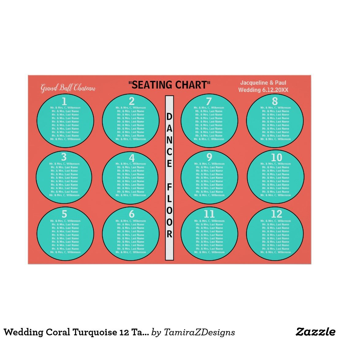 Wedding Coral Turquoise 12 Table Seating Chart | Zazzle.com #turquoisecoralweddings Pretty bright Coral Turquoise Wedding Summertime Beach Destination Theme.  12 Table Seating Chart Poster to Seat 10 or Less Guests at Each Table in Alphabetical Order.  Personalize it.  Original designs © TamiraZDesigns.  #bride #reception #wedding #coralturquoisewedding #coralwedding #seatingchart #turquoisecoralweddings