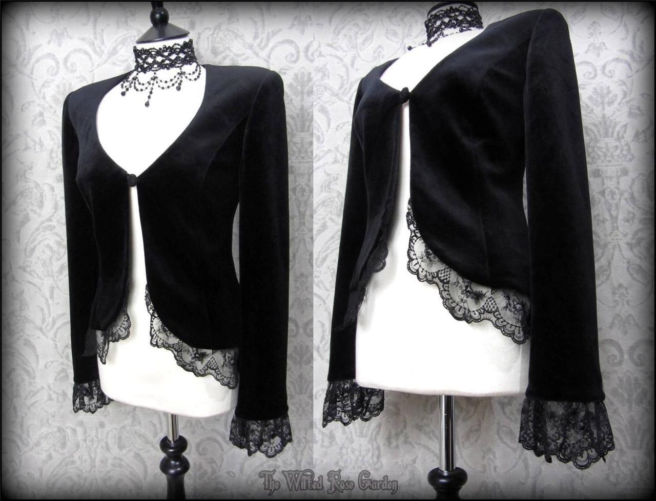 Romantic Gothic Black Velvet Lacey Ruffle Jacket 12 Vtg Victorian Vamp WHITBY | THE WILTED ROSE GARDEN