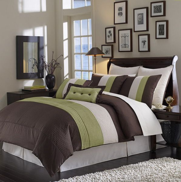 I Have This Exact Bed In The Bag For Our Master Love Color Combination Decorating Brown Comforter Bedroom Green Beige
