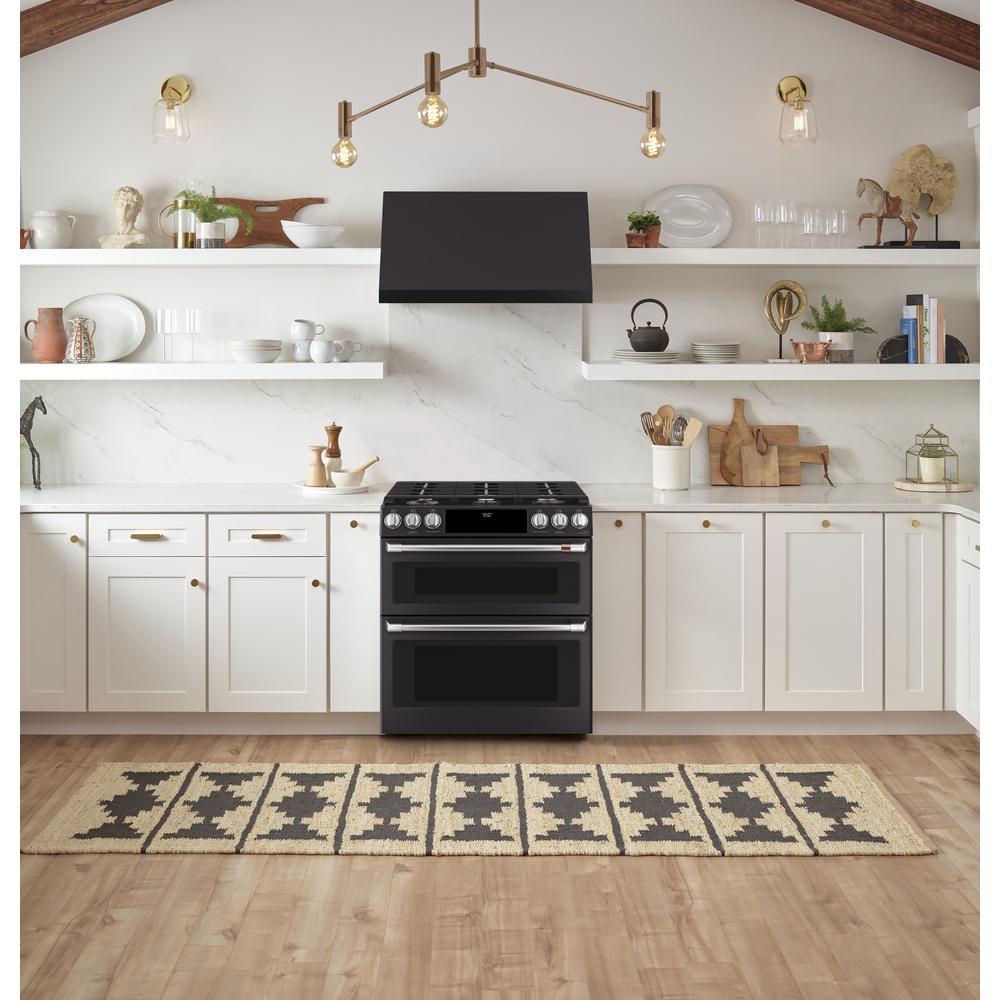 Cafe 30 In Range Hood Telescopic Downdraft System With Light In Matte Black Fingerprint Resistant Cvw93013mds The Home Depot Kitchen Design Double Oven Kitchen Trends