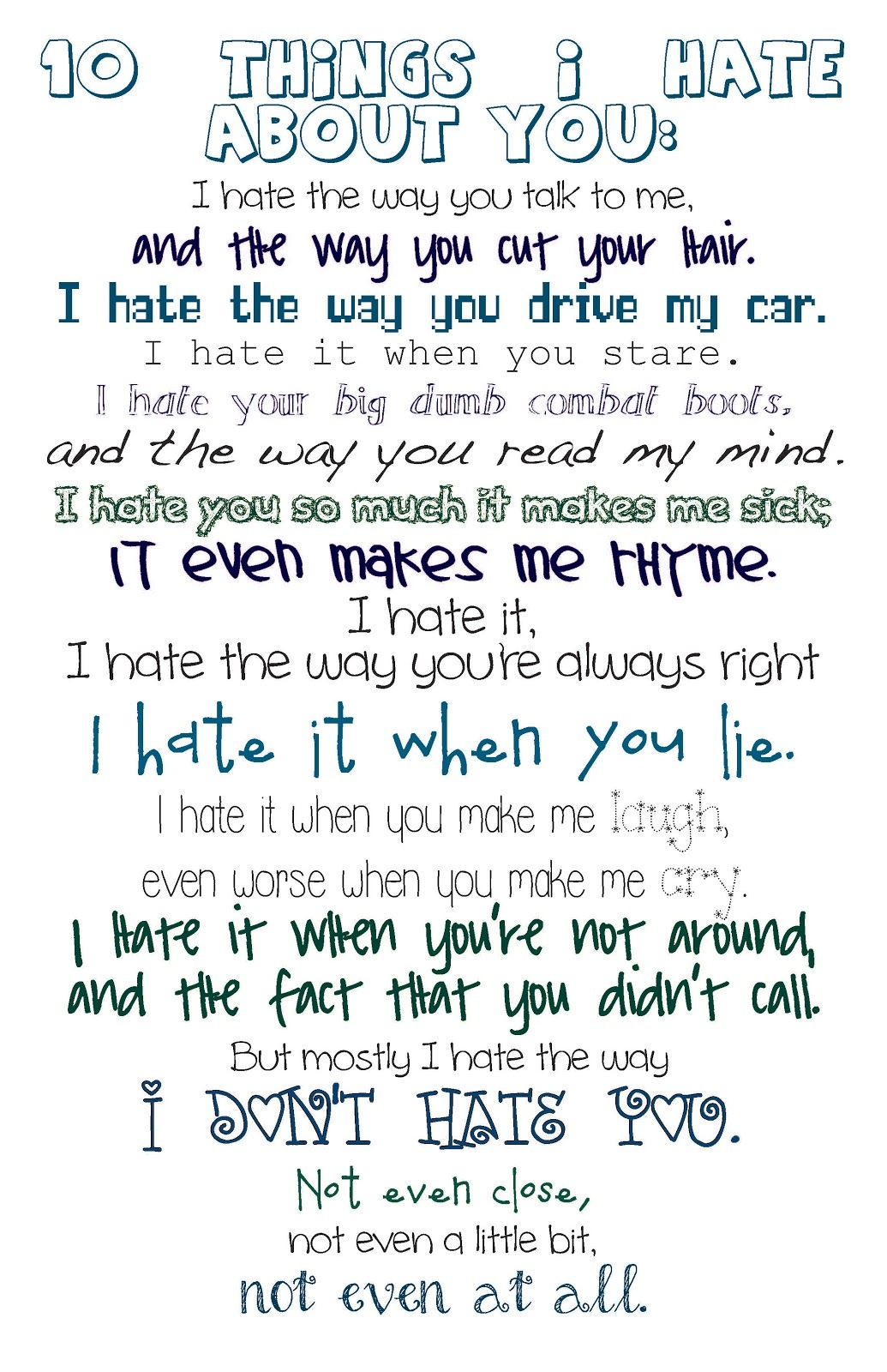 10 Things I Hate About You Movie Quote Word Pinterest
