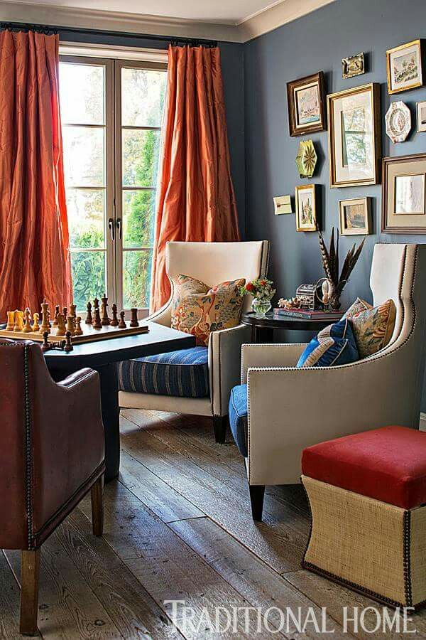 Pin By Pamela Green On Living Rooms Living Room Orange Curtains Living Room Home Living Room