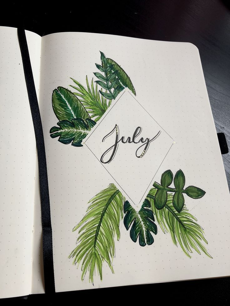 My first ever monthly spread ✌️tropical leaf themed cover page #bujo #bulletjournal #tropical #july