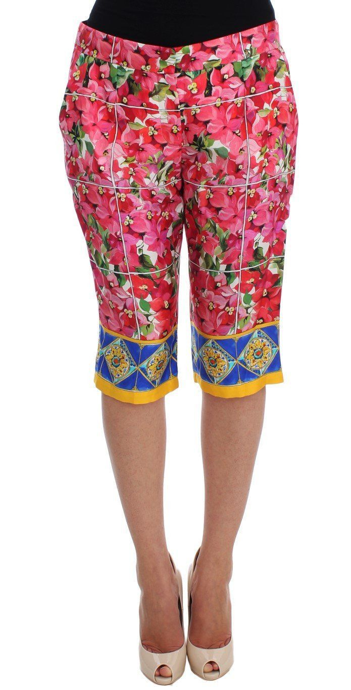 Dolce & Gabbana Multicolor Floral Knee Capris Shorts Pants