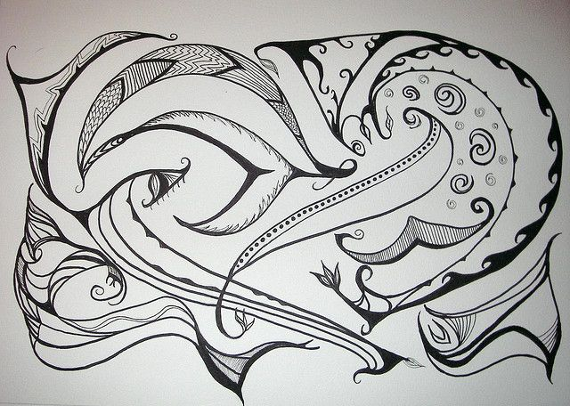 Work in progress...adding color to it, though I do like the b/w version.   Pitt brush pen (india ink), Micron Pigma pen on Canson watercolor paper...acrylic and watercolor to follow.     Be comfortable and productive while you work ...