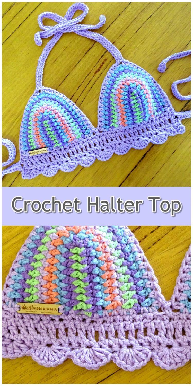 Boho Bohemian Beach Style Clothing Bra Halter Halterneck Crop Top Crochet Bikini Bralette Top Festival Bra