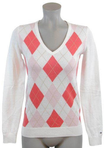 e4f3487267a Amazon.com: Tommy Hilfiger Women Logo V-Neck Argyle Pullover Sweater:  Clothing