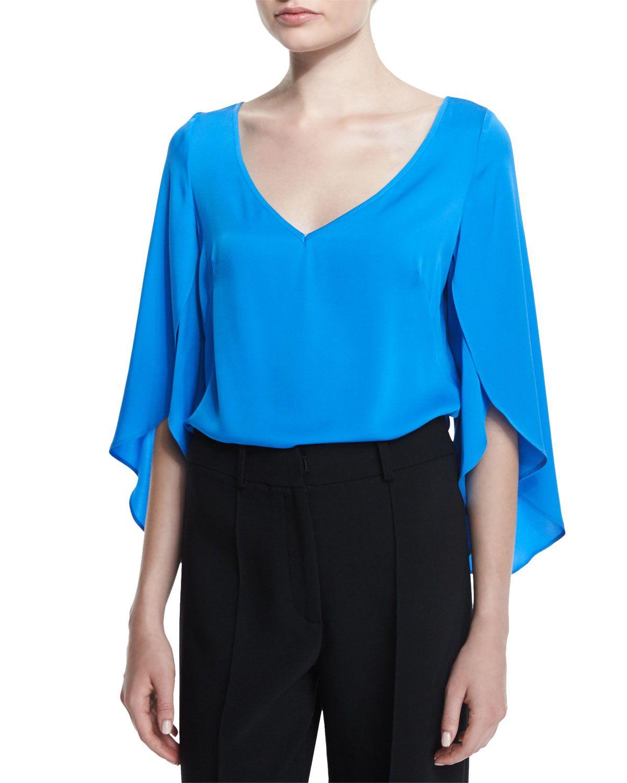 5ed41ba7e Milly Silk V-Neck Butterfly-Sleeve Blouse   *Neiman Marcus*   Floral ...