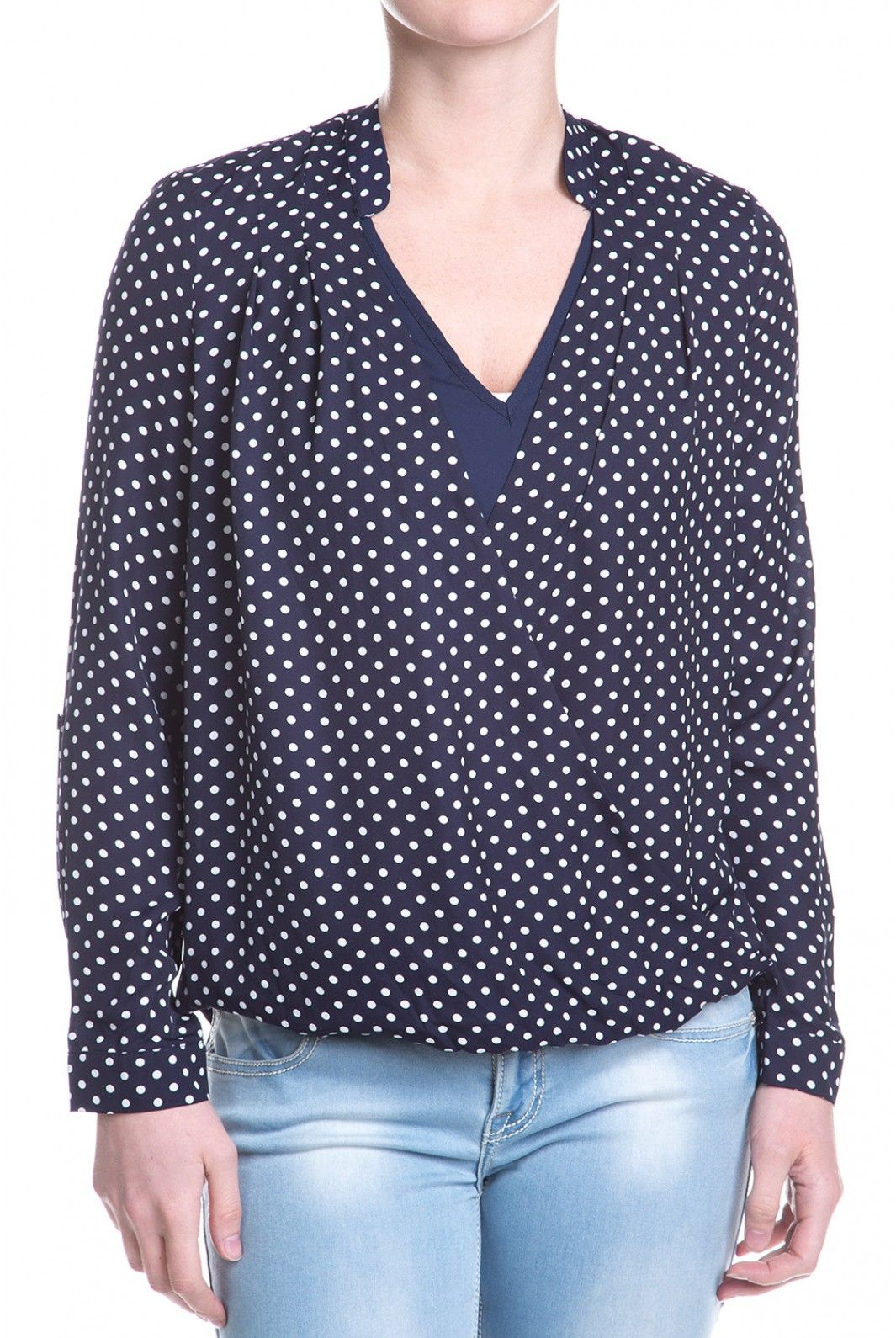 You love getting all wrapped up in an idea, and now you can get all wrapped up in this top. The wrap around style had the front panel lined with navy jersey knit, while the sleeves give you the option of buttoning them up to