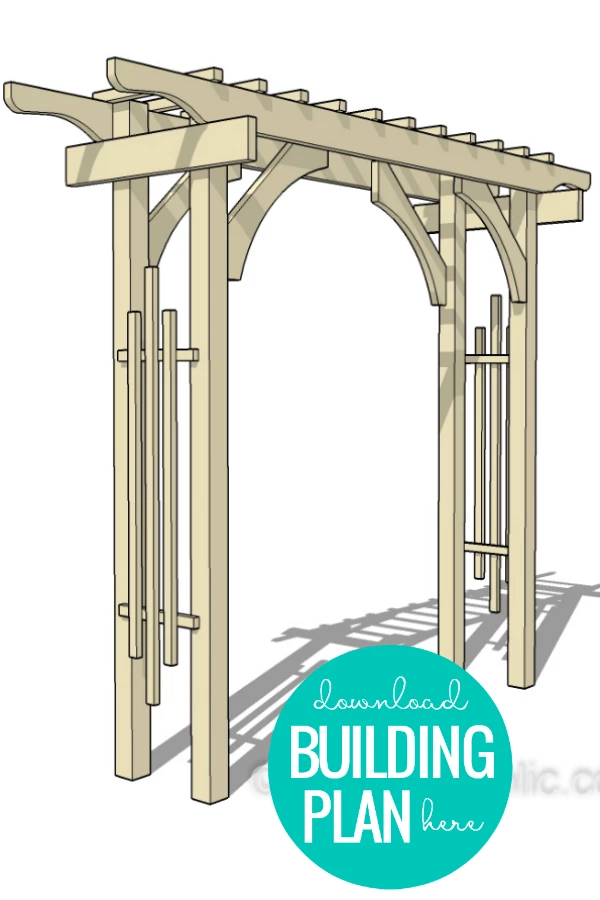 "Instant download PDF woodworking plan.  Build a portable wedding arch for an outdoor wedding or reception. This garden arbor is built in sections to be easily assembled on-site. Beautiful and affordable 2x4 redwood lumber makes this beautiful for a special occasion event backdrop or as an everyday trellis in the backyard.  Watch the video tutorial here on the Remodelaholic YouTube channel or read the blog post here for more tips and tricks for quick and easy assembly.  BUNDLE AND SAVE! Purchase the wood arbor bundle HERE to build both the arched garden trellis and the wedding arbor -- save 15%!  Finished dimensions:   120"" wide at the top 85"" between outer edges of posts 96"" tall 19"" deep at the bottom, 24"" at the top PLEASE NOTE... This product is a digital download only. No physical product will be shipped. Due to the nature of digital products, no refunds or returns are allowed. Some links on this page are affiliate links provided for your shopping convenience; products are sold at no extra cost to you if you purchase from our partners via these links.  Once purchased and downloaded, all you have to do is print and start building!  To build this wedding arch garden arbor, you'll need:  (3) 2x4x8  (4) 4x4x8 (2) 2x8x8 (1) 2x6x6 (2) 2x6x10  (50+) 2 1/2""  Deck Screws (20+) 1 1/4"" Deck Screws plus these tools:  Circular saw Table saw (for ripping 2x4 trellis pieces to width) Jigsaw Orbital sander Drill Drill bits Tape Measure Pencil Saw horses Copyright information: This purchase is for PERSONAL NON-COMMERCIAL USE ONLY and may not be altered, resold, redistributed or used for further distribution or sale in any way. Artwork is copyright of Remodelaholic LLC©."