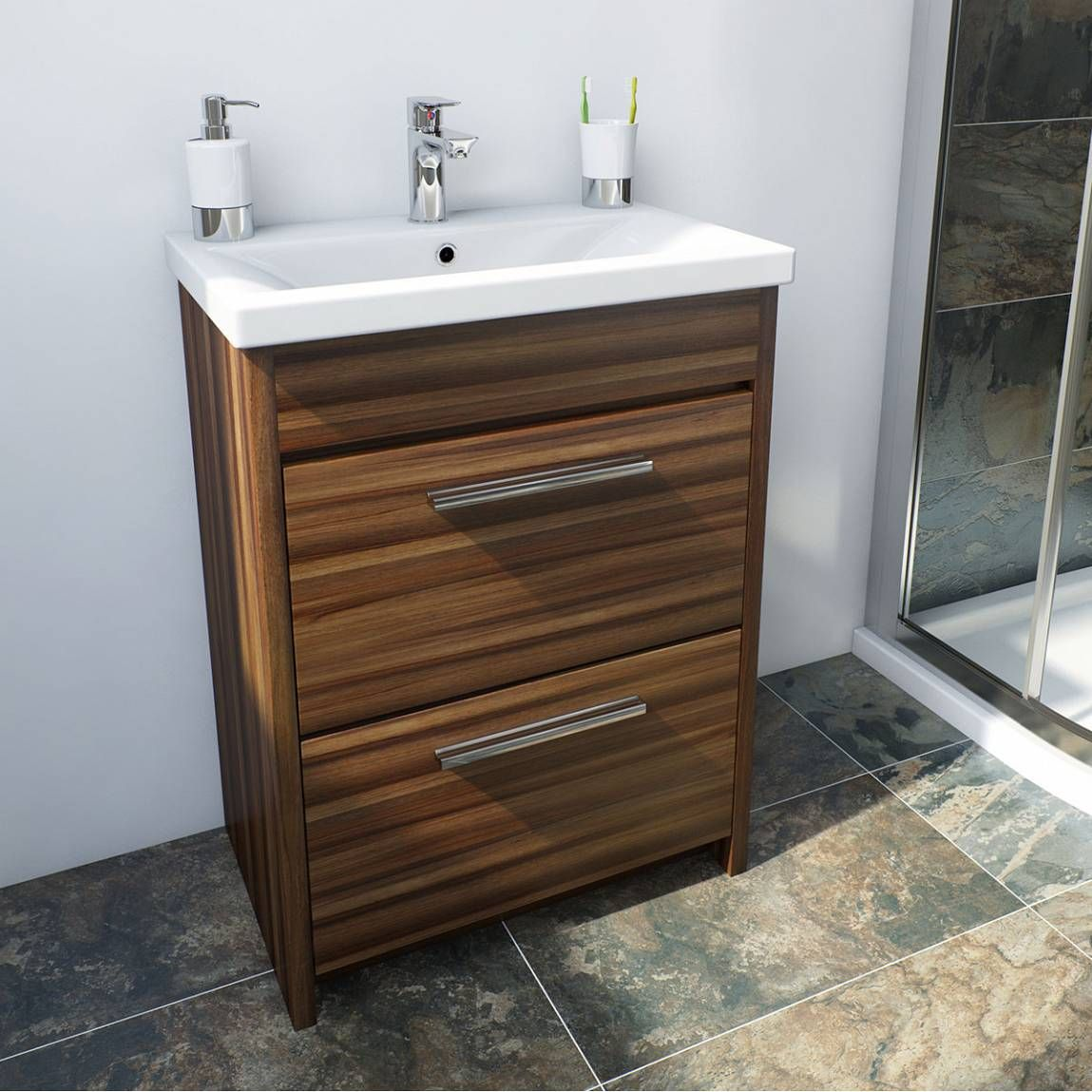 Bathroom Accessories Victoria Plumb smart walnut floor mounted 500 drawer unit & basin - victoria
