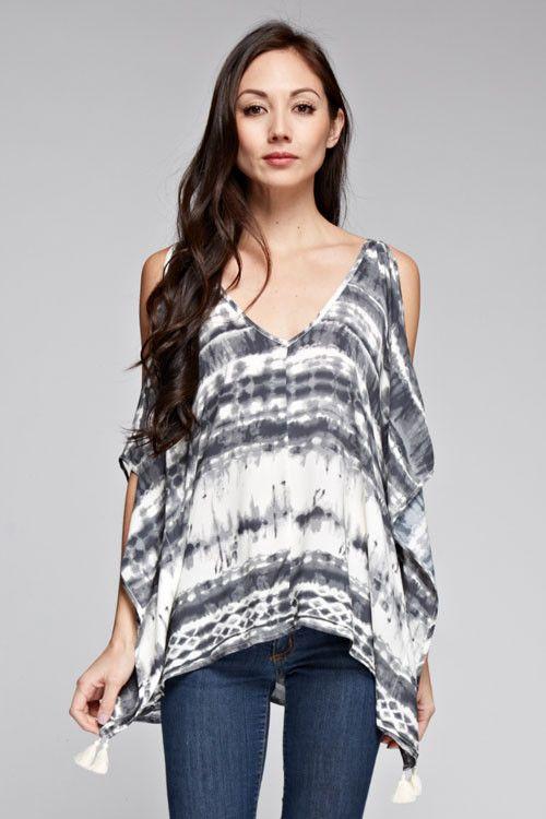 Rayon Challis Tie Dye Cold Shoulder Top | Moda femenina | Pinterest ...