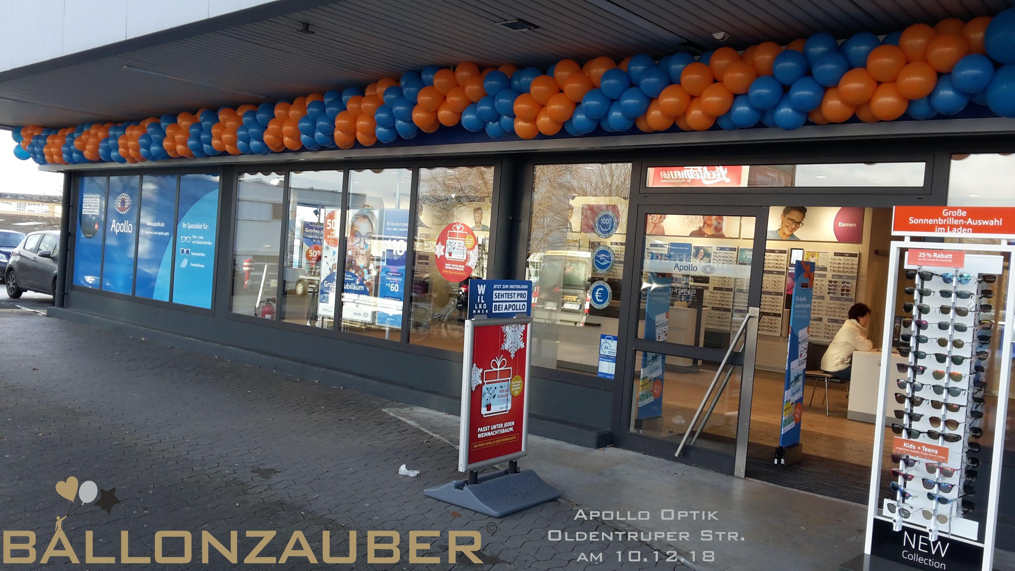 Ballongirlande Aus Orangenen Und Blauen Latexballons Fur Apollo Optik In Bielefeld Ballondekorationen Ballongirlande Aufblasbar