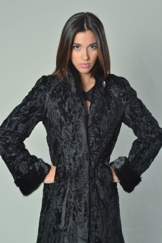 573c0ac7592 Black Persian Lamb Coat Mink Collar   Cuffs - SKANDINAVIK FUR