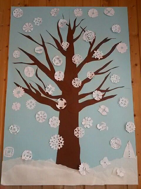 1st grade craft. Snowflakes and tree. Winter.