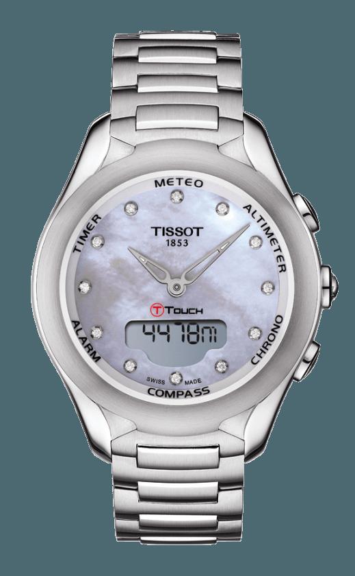 T075 220 11 106 00 Tissot T Touch Lady Solar Diamond Pearl Dial Quartz Tissot T Touch Tissot Watches Stainless Steel Bracelet