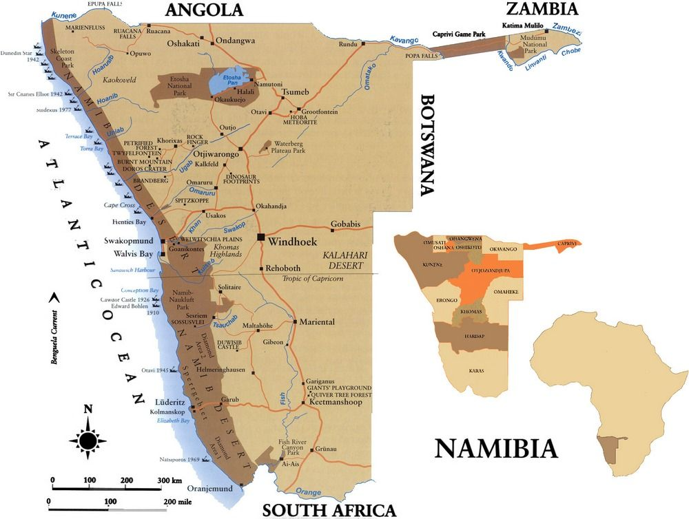 Namib Desert On Africa Map.Image Result For Printable Road Map Of Namibia Namibia Namib