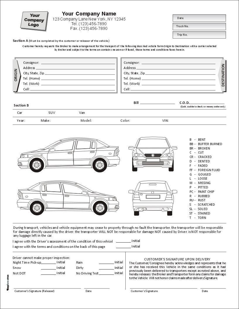 Auto Condition Report Form With Terms On Back, Item 7563