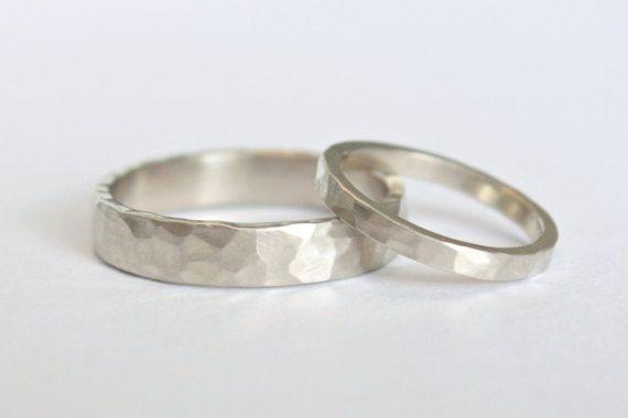 Hammered Gold Wedding Ring Set, 14k White Gold Matching Wedding Rings, Eco Friendly Recycled Gold, Matching Wedding Bands Set