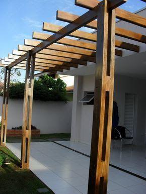 Resultado de imagem para pergolas de madera planos for Choza de jardin de madera techo plano