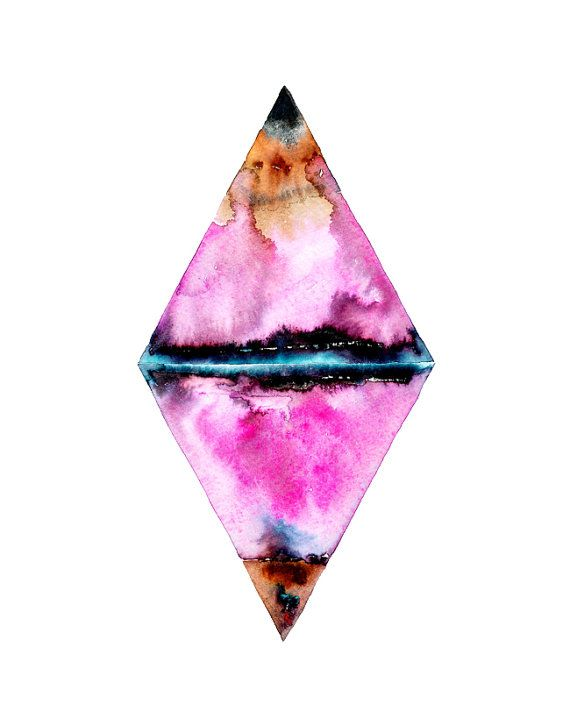 Watercolor Diamond Wall Art Print/Geometric, by SnoogsAndWilde for Etsy ($14)
