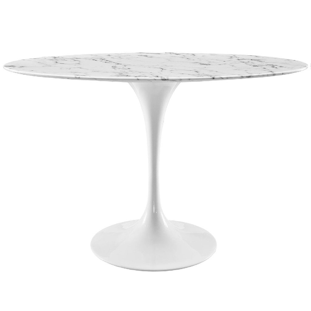 Lippa 48 Oval Artificial Marble Dining Table Eei 2021 Whi