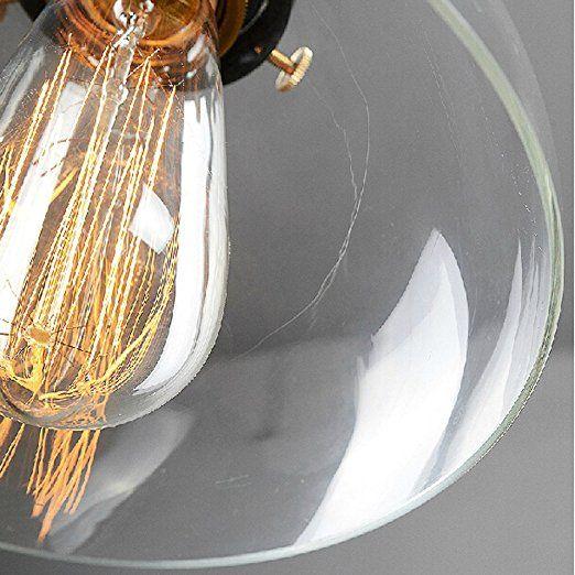 Lightess Industrie Retro Hängelampe Glas Shade Anhänger