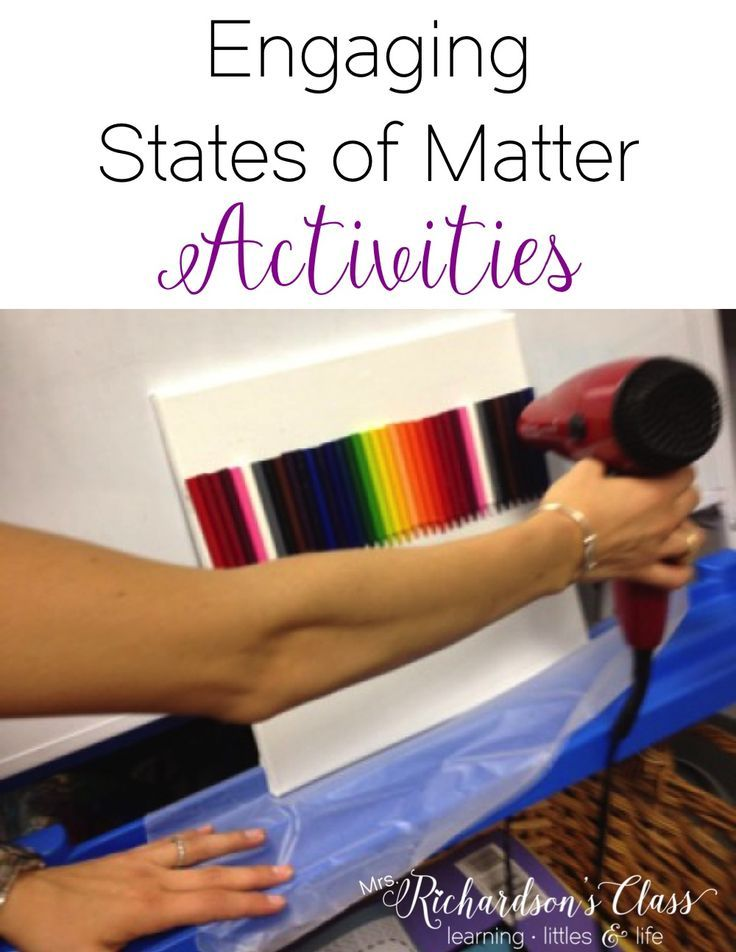 States of Matter experiments that are sure to keep my students engaged! This one is super simple with crayons, a canvas, and a blow dryer!