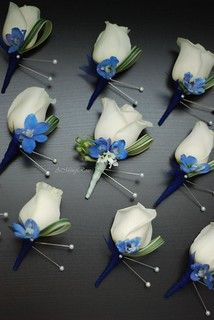Boutonnieres – White Rose with Blue Delphinium