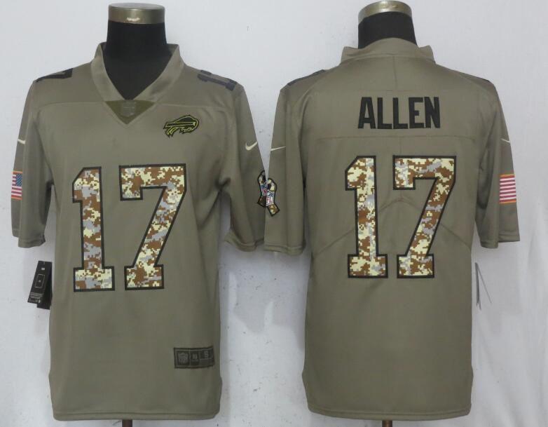 quality design d829f 15783 Men Buffalo Bills 17 Allen Olive Camo Carson Salute to ...
