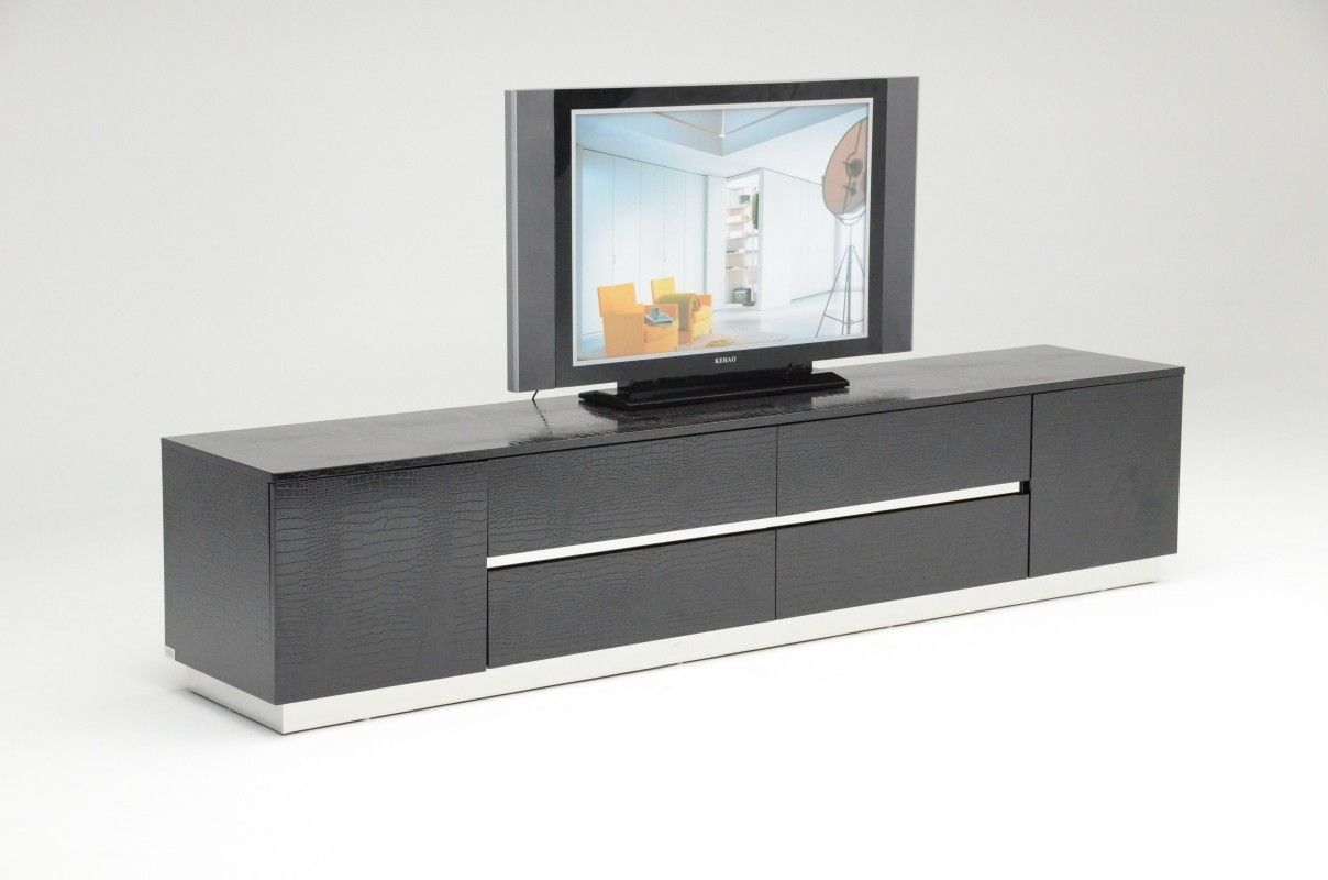 Au0026X Skyline Modern Black Crocodile Lacquer TV Unit