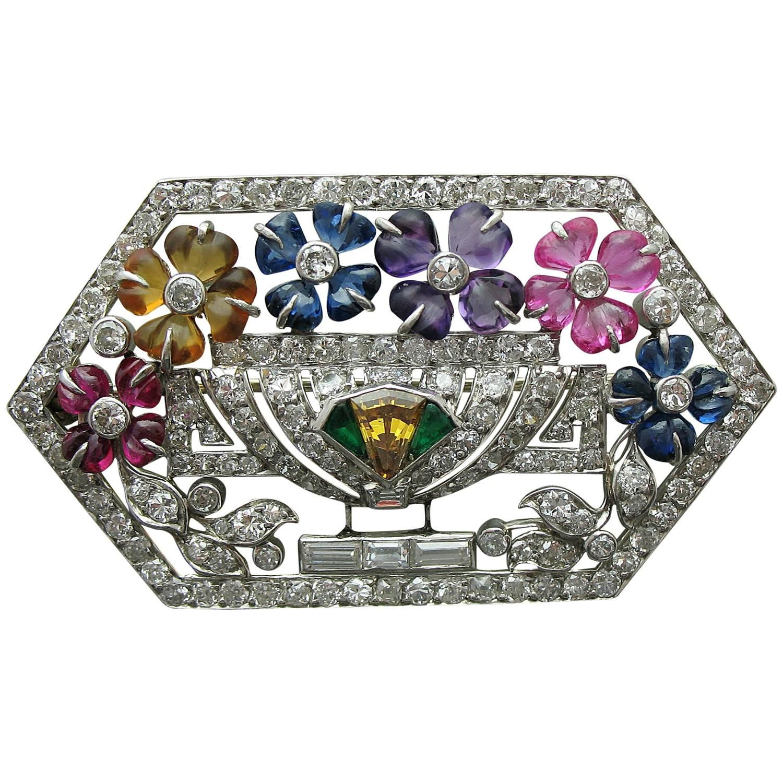 LaCloche Art Deco Multi Gem Diamond Platinum Pin Brooch | From a unique…