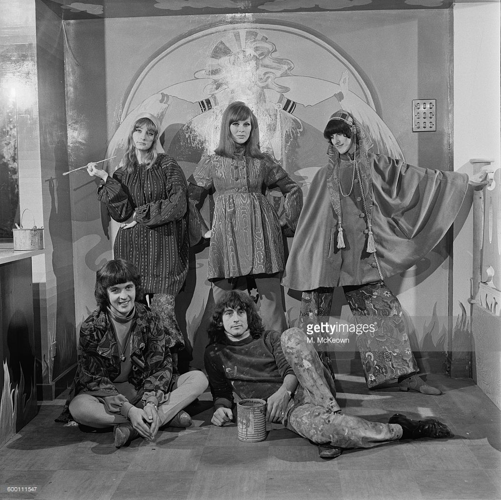 English fashion model Paulene Stone with members of The Fool design collective at the new Apple Boutique in London, UK, 29th November 1967. The shop was owned by the Beatles' Apple Corps. From left to right (back row) Marijke Koger, Stone, Josje Leeger; (front row) Barry Finch and Simon Posthuma.