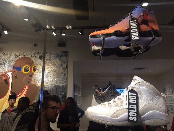 fans bombard nikes new michael jordan store on state street http  chicago
