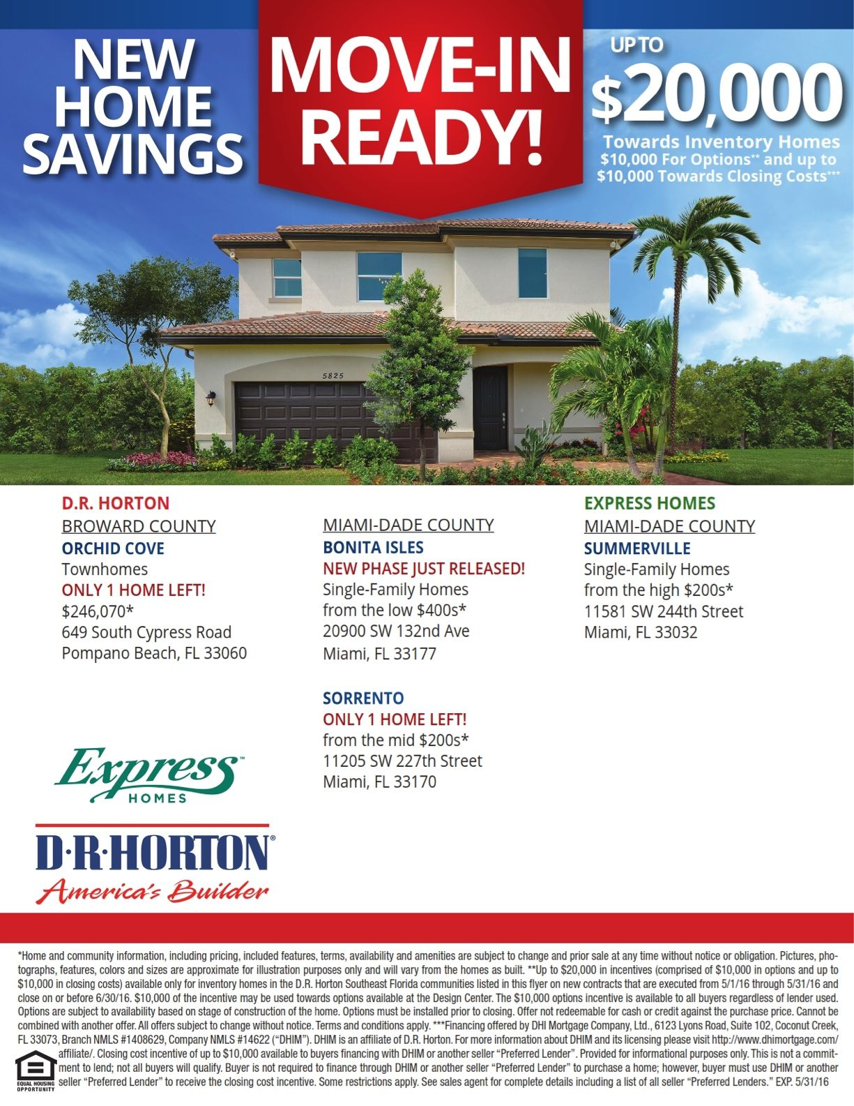 Incredible $20k incentives on move in ready homes by DR Horton, America's #1 HomeBuilder. http://bit.ly/drhorton1