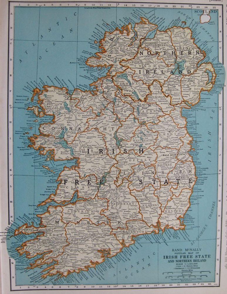 1937 Antique Ireland Map Irish Free State 1930s Map Gallery Wall Art